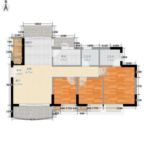 黄埔雅苑3室1厅2卫1厨91.00㎡户型图