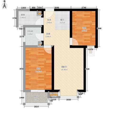 瑶晨绿岛2室1厅1卫1厨82.00㎡户型图