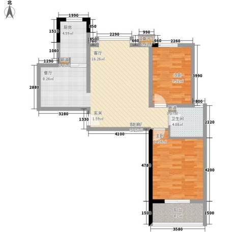 瑶晨绿岛2室1厅1卫1厨94.00㎡户型图