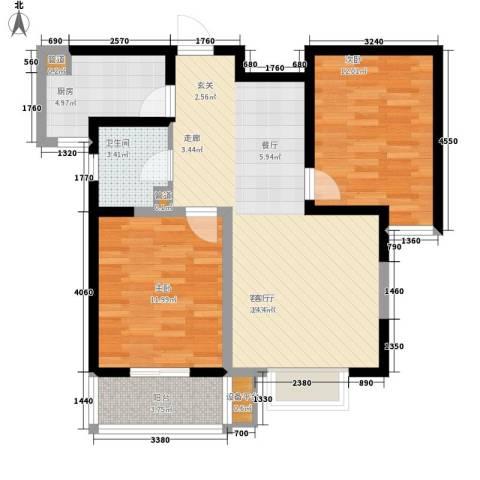 瑶晨绿岛2室1厅1卫1厨89.00㎡户型图