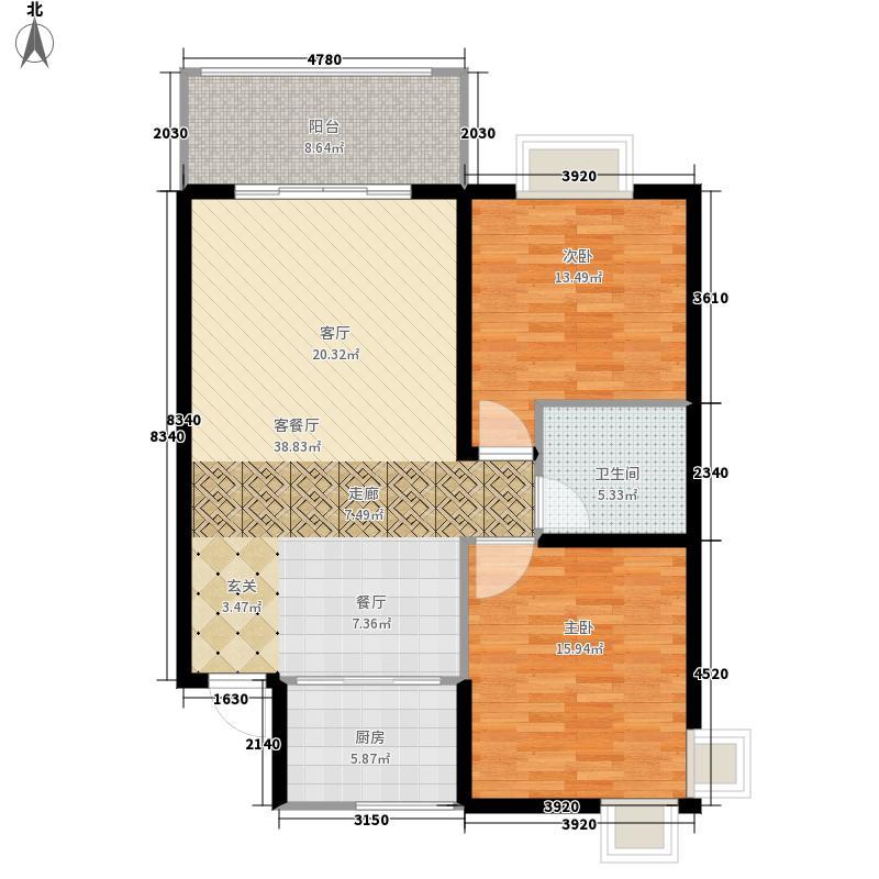 湘楚家园97.34㎡F一面积9734m户型