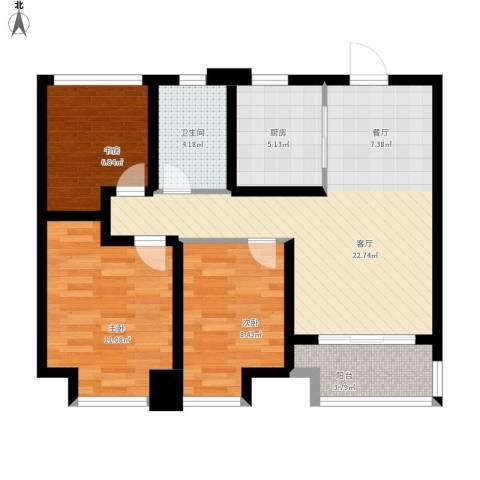 旭辉・御府3室1厅1卫1厨91.00㎡户型图