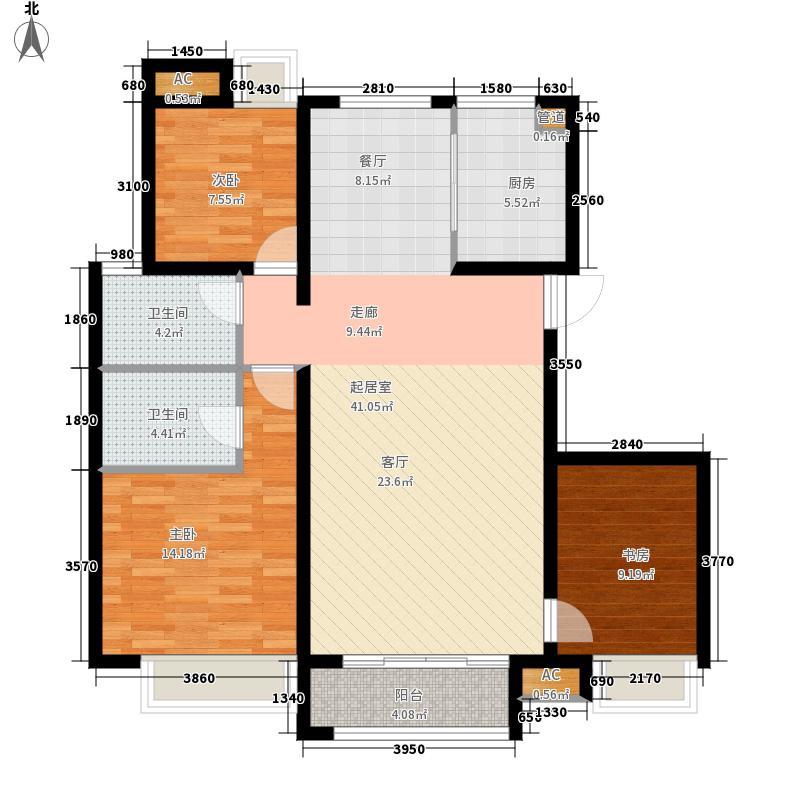 东壹区128.00㎡高层5-6号楼标准层D4户型