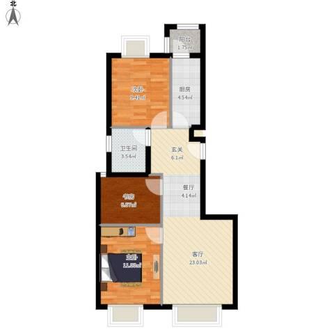 天恒乐活城D53室1厅1卫1厨85.00㎡户型图