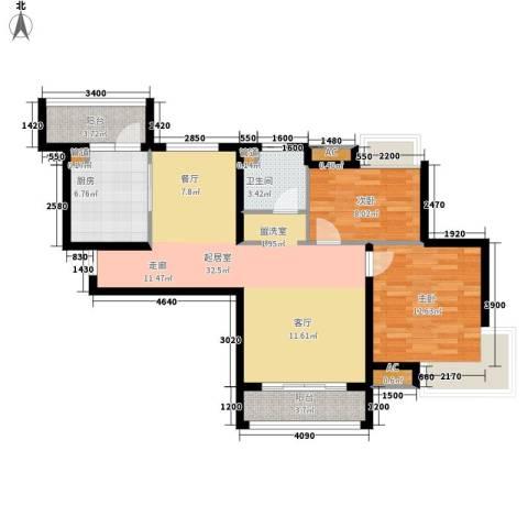 东壹区2室0厅1卫1厨83.78㎡户型图