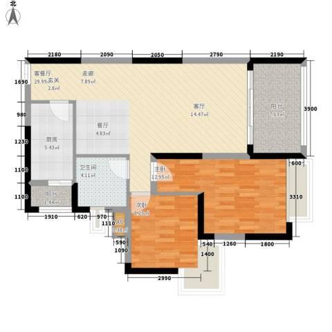 北城阳光今典2室1厅1卫1厨74.00㎡户型图