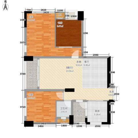 西城楼华府3室1厅1卫1厨116.00㎡户型图