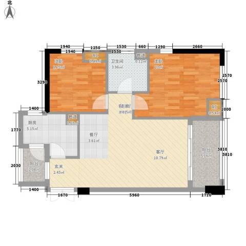 西城楼华府2室1厅1卫1厨89.00㎡户型图