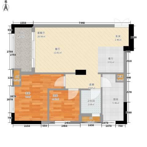 西城楼华府2室1厅1卫1厨78.00㎡户型图