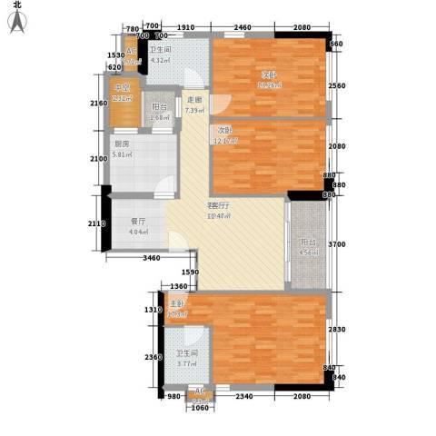 西城楼华府3室1厅2卫1厨119.00㎡户型图