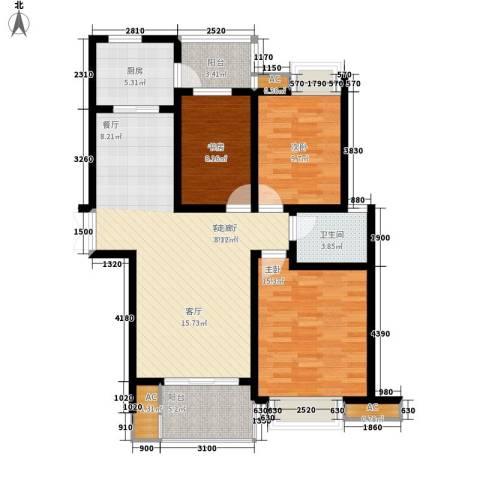 台湾路2-18号3室1厅1卫1厨85.47㎡户型图