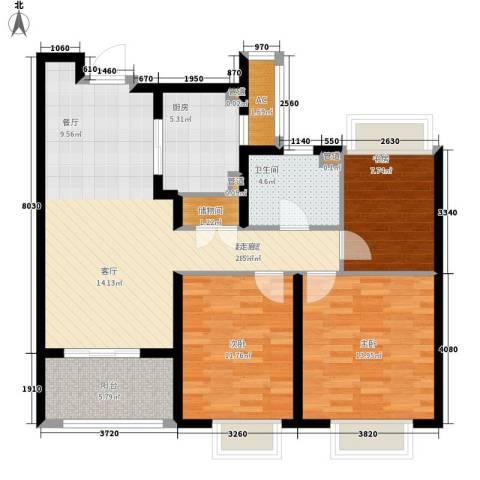 月亮湾3号3室0厅1卫1厨95.00㎡户型图
