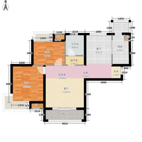 东壹区2室0厅1卫1厨81.06㎡户型图