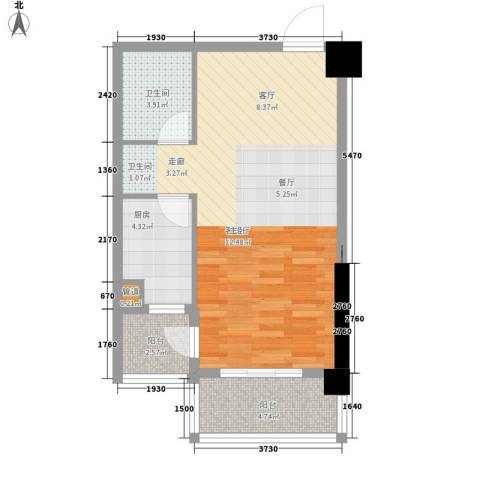 裕亚俊园1厅1卫1厨53.00㎡户型图