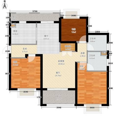月亮湾3号3室0厅2卫1厨115.00㎡户型图