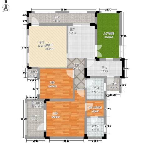 山语间爱尚2室1厅2卫1厨99.43㎡户型图