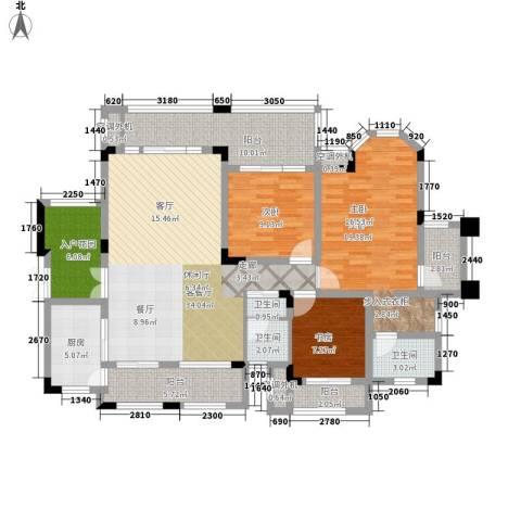 山语间爱尚3室1厅3卫1厨128.00㎡户型图