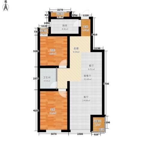 南岭小区2室1厅1卫1厨93.00㎡户型图