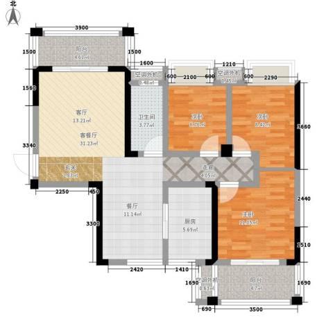昆仑和府华庭3室1厅1卫1厨116.00㎡户型图
