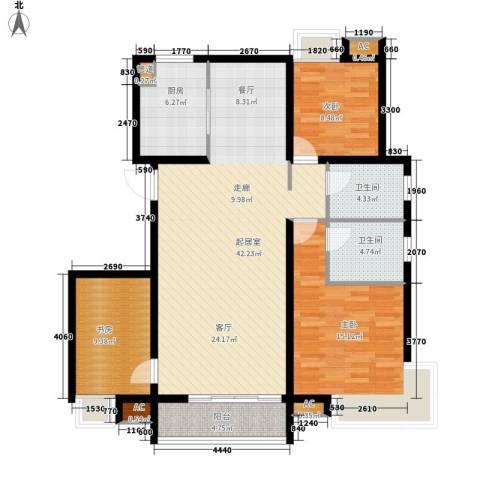 东壹区3室0厅2卫1厨110.58㎡户型图