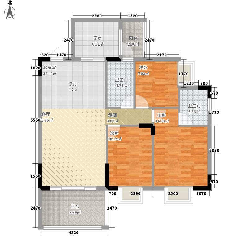 金海华府108.28㎡F户型三房两厅一厨一卫约户型3室2厅1卫