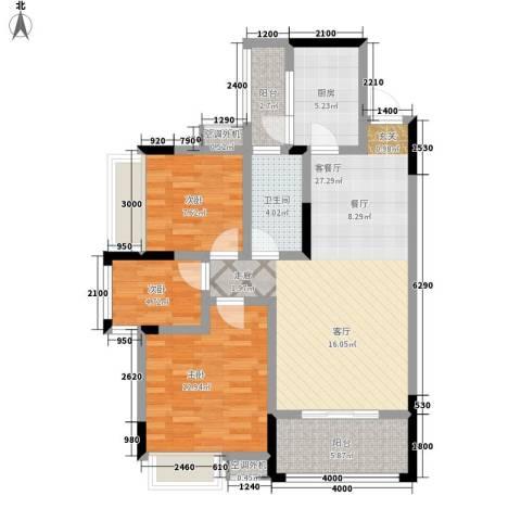 昆仑和府华庭3室1厅1卫1厨105.00㎡户型图
