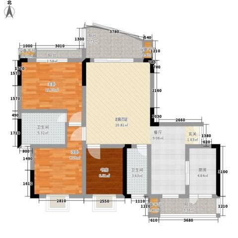 回龙湾小区3室0厅2卫1厨100.00㎡户型图