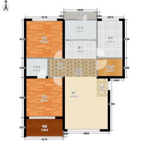 鸿旺阳光小区3室1厅2卫1厨155.00㎡户型图