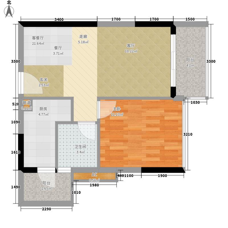 中国美林湖59.00㎡美汇半岛彩贝湾A户型1室2厅