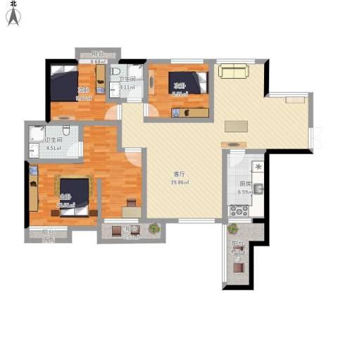 中天会展城3室1厅2卫1厨151.00㎡户型图