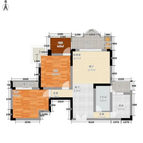 回龙湾小区3室0厅1卫1厨81.00㎡户型图