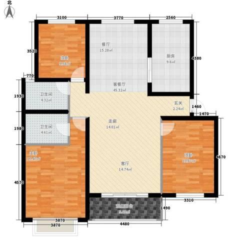 38街坊3室1厅2卫1厨155.00㎡户型图