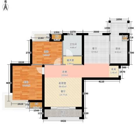 东壹区2室0厅1卫1厨87.24㎡户型图