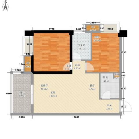 裕亚俊园2室1厅1卫1厨79.00㎡户型图