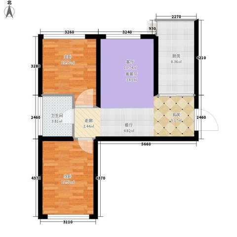 鸿旺阳光小区2室1厅1卫1厨82.00㎡户型图