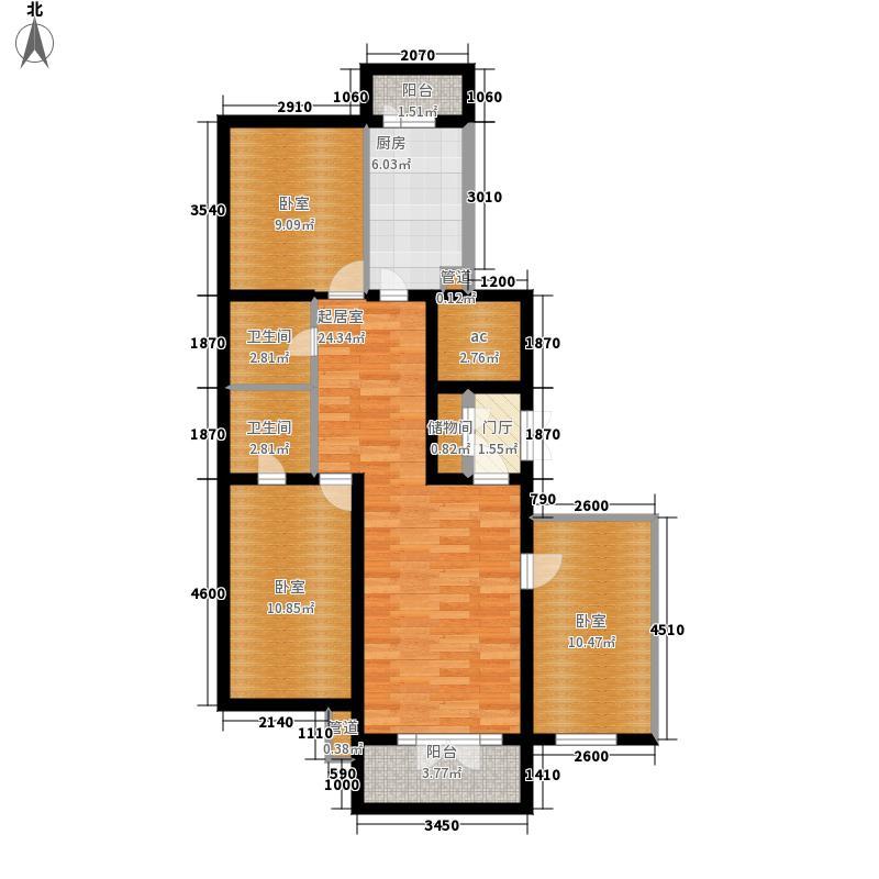 滨江逸品一号楼四单元三室户型3室1厅