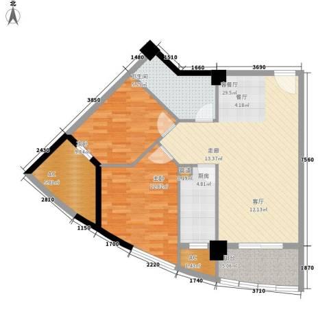 裕亚俊园2室1厅1卫1厨107.00㎡户型图