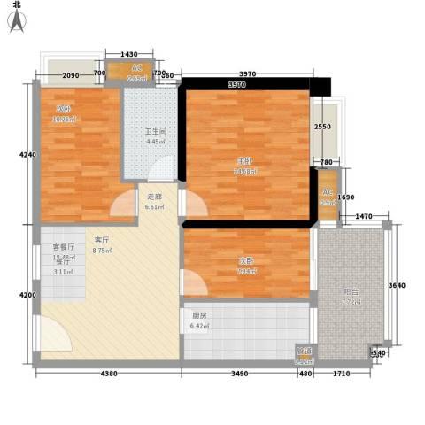 裕亚俊园3室1厅1卫1厨82.00㎡户型图
