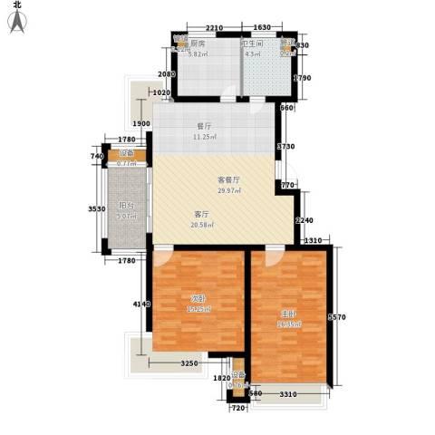 旭辉朗悦庭2室1厅1卫1厨90.00㎡户型图