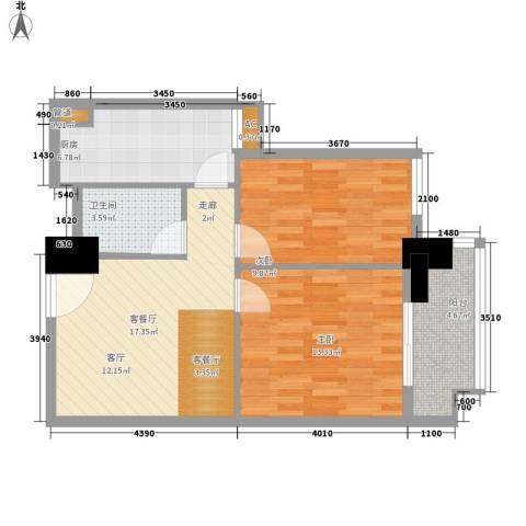裕亚俊园2室1厅1卫1厨68.00㎡户型图