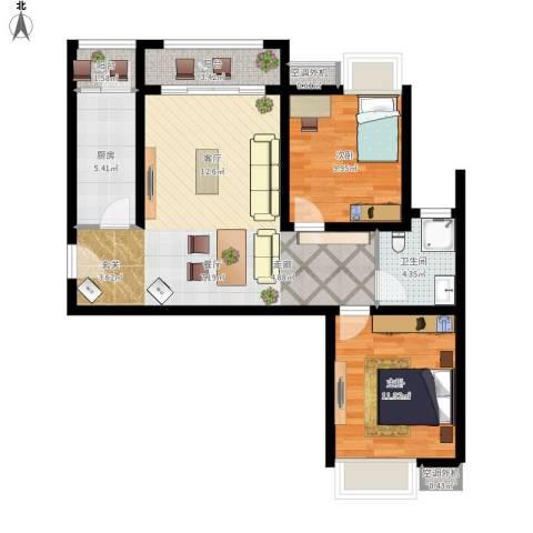 珠光御景2室1厅1卫1厨96.00㎡户型图