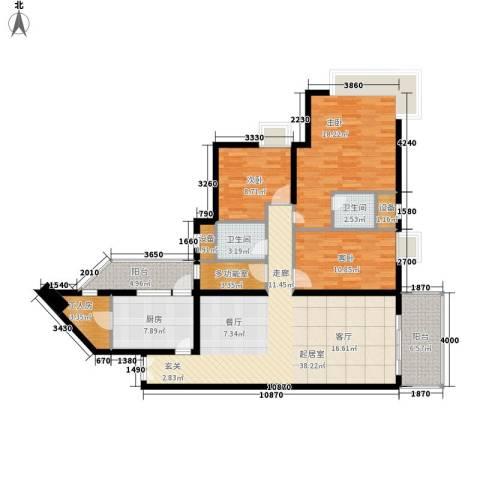 翠竹苑3室0厅2卫1厨142.00㎡户型图