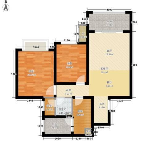 西派国际2室1厅1卫1厨90.00㎡户型图