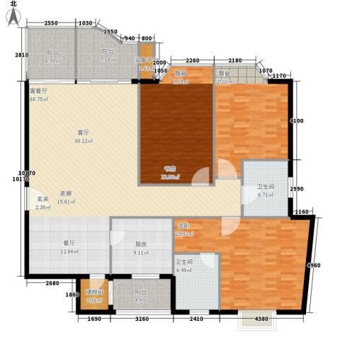 东湖花园3室1厅2卫1厨186.00㎡户型图