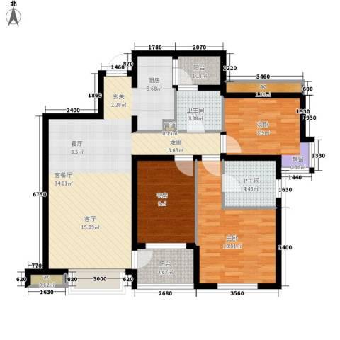 无国界3室1厅2卫0厨109.00㎡户型图