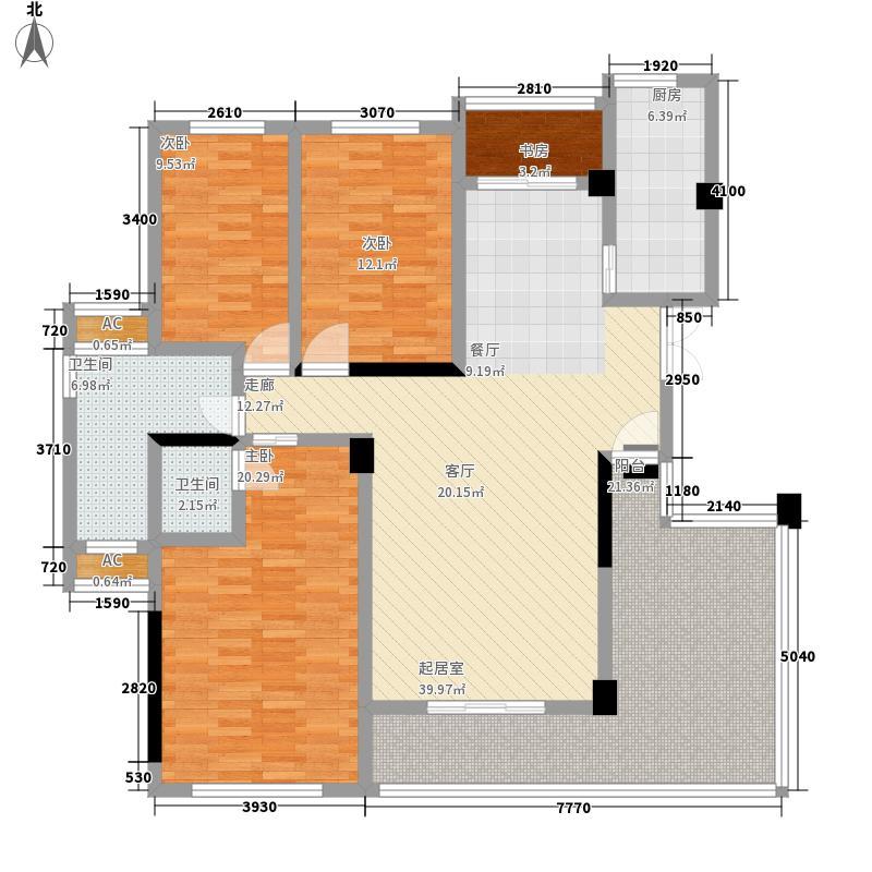 万安盛世年华二期美景中央143.67㎡二期3栋标准层A2户型