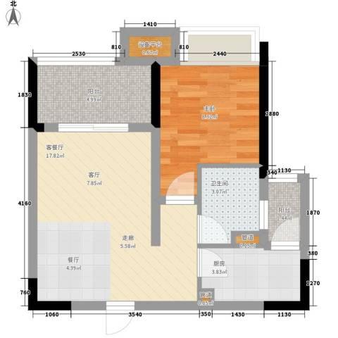 ICON尚郡1室1厅1卫1厨58.00㎡户型图