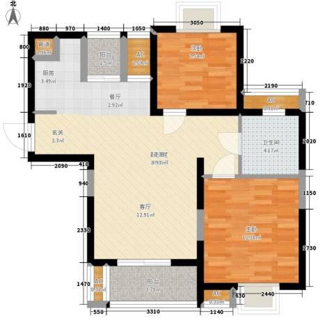 汉水熙园2室0厅1卫0厨93.00㎡户型图