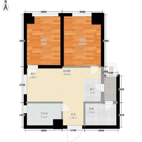 汉水熙园2室0厅1卫1厨69.00㎡户型图