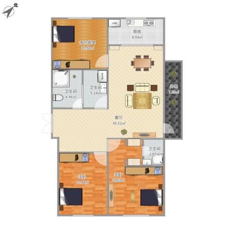 如一坊中央公园2室1厅3卫1厨170.00㎡户型图